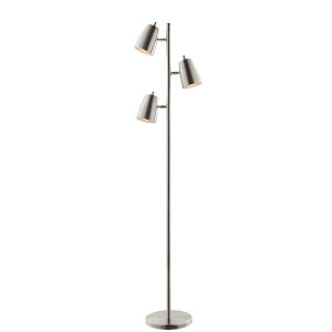 Ronnie Brushed Nickel 65-Inch Three-Light Floor Lamp