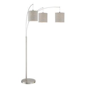 Norlan Brushed Nickel Three-Light Arc Floor Lamp