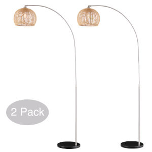Morley Brushed Nickel Two-Light Arc Floor Lamp