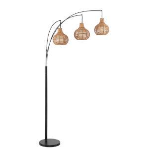 Paige Black Three-Light Arc Floor Lamp