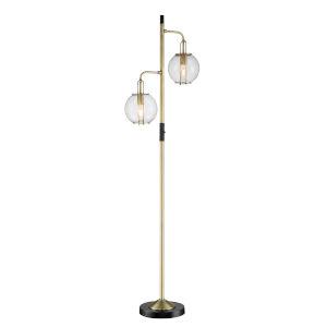 Kaira Black Two-Light Floor Lamp