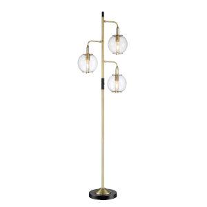 Kaira Black Three-Light Floor Lamp