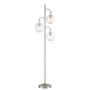 Kaira Brushed Nickel Three-Light Floor Lamp