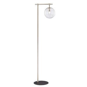 Lencho Brushed Nickel Smoke Glass One-Light Floor Lamp