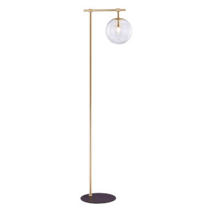 Lencho Gold Smoke Glass One-Light Floor Lamp