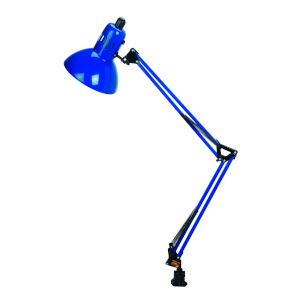Swing Arm Blue One-Light Desk Lamp