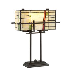 Mansur Dark Bronze Two-Light Fluorescent Table Lamp