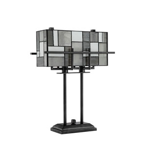 Collins Aged Gun Metal Two-Light Table Lamp