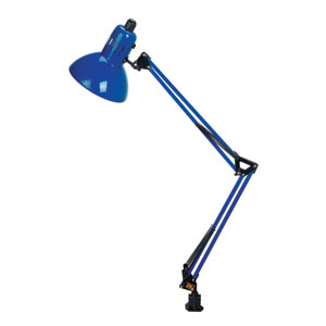 Swing Arm Blue One-Light Clamp-On Lamp