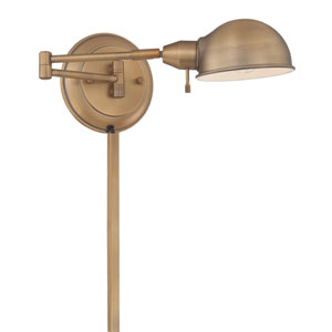 Rizzo Antique Brass One-Light Swing-Arm Wall Lamp