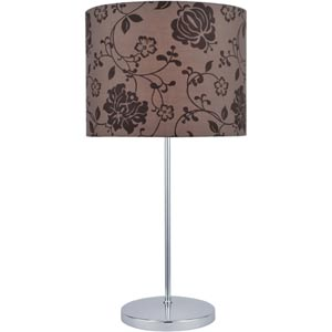 Glora Chrome Table Lamp with Printed Fabric Shade