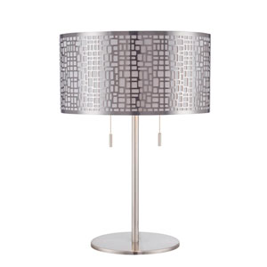 Torre Polished Steel Two-Light Table Lamp