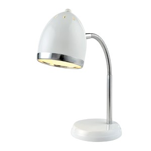 Zachary White and Chrome One-Light Fluorescent Desk Lamp