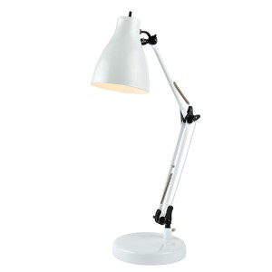 Karolina White One-Light Fluorescent Desk Lamp