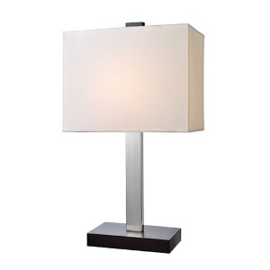 Maddox Polished Steel and Black One-Light Fluorescent Table Lamp