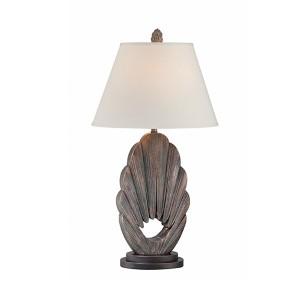 Neolani Antique Bronze and Dark Walnut One-Light Fluorescent Table Lamp