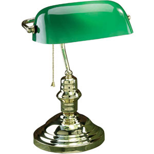 Banker Polished Brass One-Light Desk Lamp