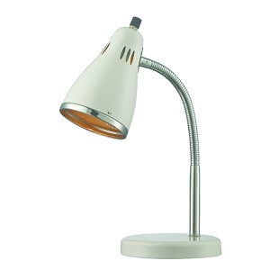 Kris Chrome and White One-Light Fluorescent Desk Lamp