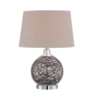Claral Glass and Rattan One-Light Table Lamp