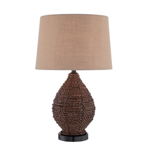 Shop old lenox table lamps bellacor pouria dark brown rattan one light table lamp aloadofball Images
