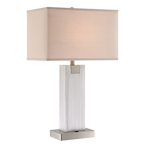 Clifton Brushed Nickel Two-Light Table Lamp with USB Port
