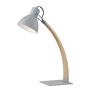 Arden Grey and Wood 22-Inch One-Light Desk Lamp