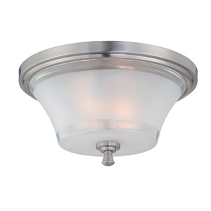 Niccolo Polished Steel Two-Light Flush Mount Light Fixture