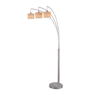 Relaxar Polished Steel Three-Light Arch Lamp