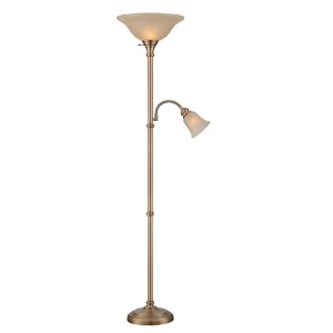 Henley Antique Brass Fluorescent Two-Light Floor Lamp