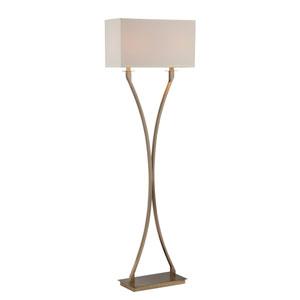 Cruzito Antique Brass 59-Inch Two-Light Floor Lamp