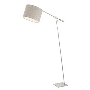 Lucilla Brushed Nickel One-Light Floor Lamp with Flannel Shade