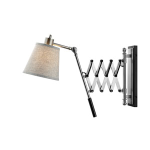 Caprilla Brushed Nickel and Black One-Light Wall Lamp