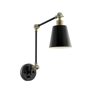 Norco Two-Toned Black One-Light Wall Lamp