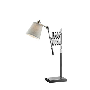 Caprilla Brushed Nickel and Black One-Light Extendable Table Lamp