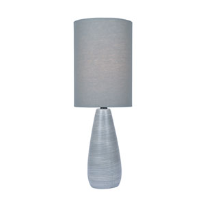 Quatro Brushed Grey One-Light Fluorescent 13W Mini Table Lamp with Grey Linen Shade