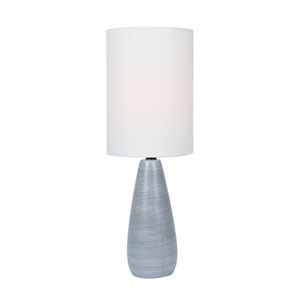 Quatro Brushed Grey One-Light Fluorescent 13W Mini Table Lamp with White Linen Shade