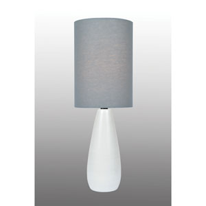 Quatro Brushed White One-Light Fluorescent Mini Table Lamp with Grey Linen Shade