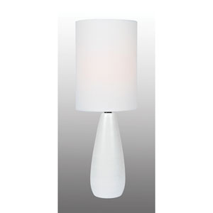 Quatro Brushed White One-Light Fluorescent Mini Table Lamp with White Linen Shade