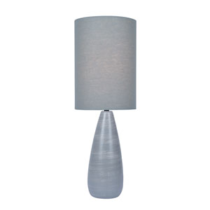 Quatro Brushed Grey One-Light Fluorescent 13W Table Lamp with Grey Linen Shade
