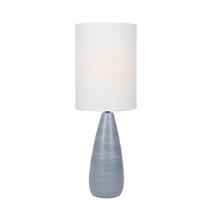 Quatro Brushed Grey One-Light Fluorescent Table Lamp with White Linen Shade