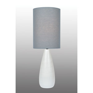 Quatro Brushed White One-Light Fluorescent 13W Table Lamp with Grey Linen Shade