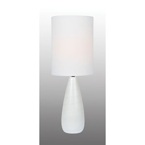 Quatro Brushed White One-Light Fluorescent 13W Table Lamp with White Linen Shade