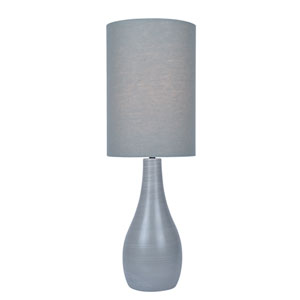 Quatro Brushed Grey One-Light Fluorescent Table Lamp with Grey Linen Shade