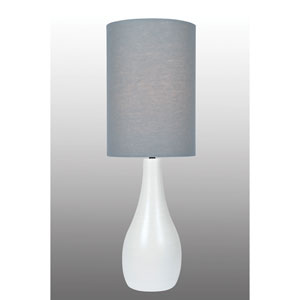 Quatro Brushed White One-Light Fluorescent Table Lamp with Grey Linen Shade