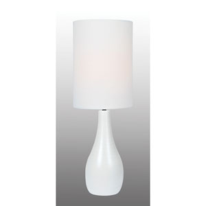 Quatro Brushed White One-Light Fluorescent Table Lamp with White Linen Shade
