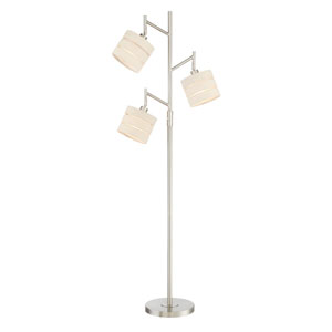 Falan Brushed Nickel Three-Light Floor Lamp