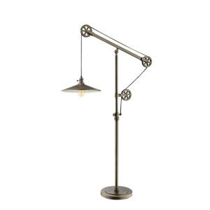Garrad Antique Silver One-Light Pulley Floor Lamp