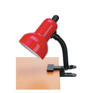 Clip-On Red One-Light Clamp-On Lamp
