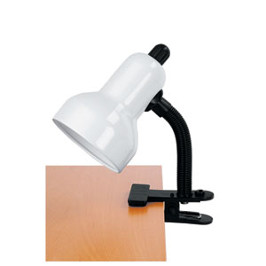 Clip-On White One-Light Clamp-On Lamp