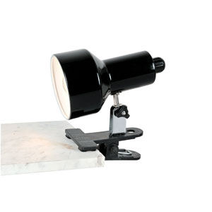 Clip-On II Black Fluorescent Clamp-On Lamp